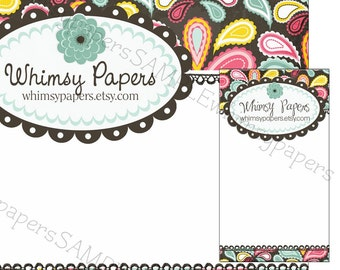 Whimsical Paisley Hair Bow Display cards - Choice of size and color combinations - Optional double-sided print