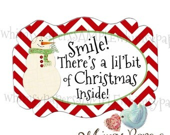 Christmas Stickers - set of 50 - Chevron Snowman Stickers