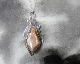 Rot and Renewal sterling silver etched seed pendant with Lake Superior agate, a perfect gift for gardeners