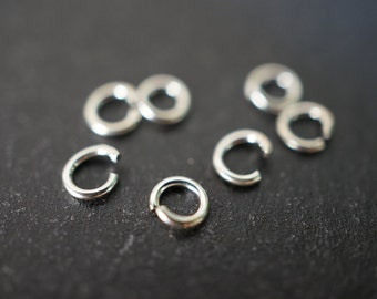 Open Rings 925 Sterling Silver Round Jump Rings - 3mm x 0.6mm Thick - 10 pcs