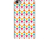 Geometric Triange - Teal Yellow Gray Orange Pink  - White, Black or Clear Sides iPhone Case - IPhone 4, 4S, 5, 5S, 5C Hard Cover artstudio54