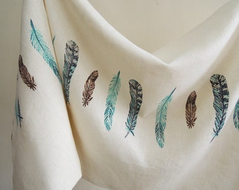 Wild Bird Feathers cream linen body hand block printed home decor decorative pillow cover 20x54