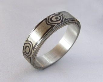 One Of A Kind Mokume Gane Ring size 6.75