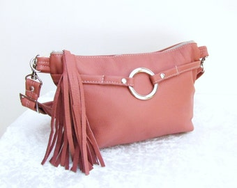 Pink Leather waist bag with tassel fanny purse - Dusty pink