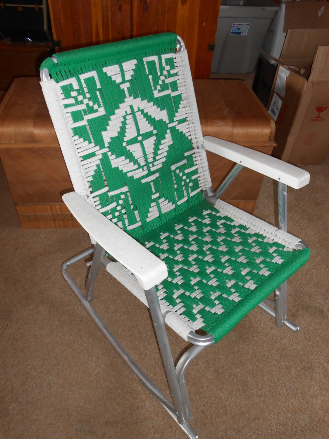 Vintage Mid Century Folding Lawn Chair With Macrame Aluminum