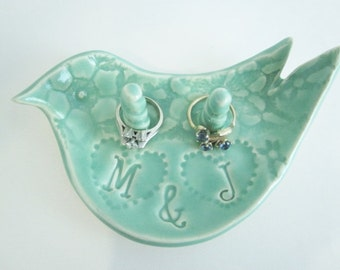 Ring dish, Mr.and Mrs. Custom ring dish, Mint green ceramic engagement ring bowl Gift for Bride,