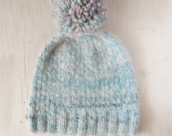 Sale Knitted Light Blue Grey Toddler 2 year old Hand Knit Hat Handspun