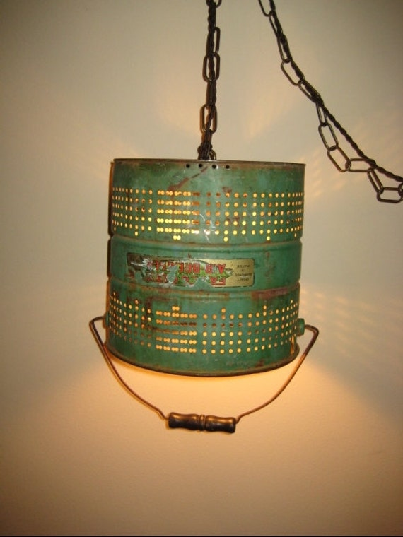 Upcycled Repurposed Green Fishing Minnow Bucket Hanging Light