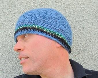 men's short beanie/ heather blue wool n' hemp crochet