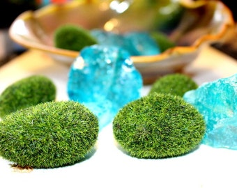 Zen Garden Starter Kit 5 Faux Moss Rocks and 3 chunks of large glass either turquoise or purple-or choose just rocks or glass.