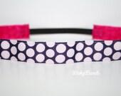 Navy Polka Dots No Slip Headband