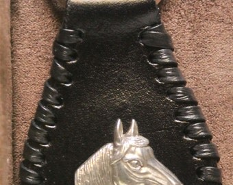 Handcrafted Leather Key Ring with Horse Head