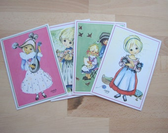 Set of 4 of Cute Vintage French Greeting Cards Blank Unused Little Girls, Birds & Kittens Illustrated