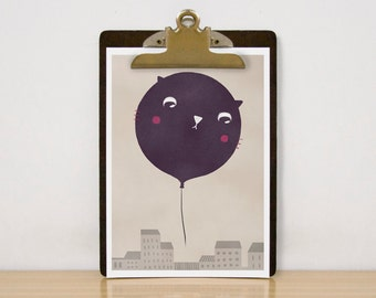 Cat balloon - Print 8 x 11.5
