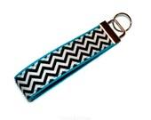 Black Chevron Fabric on Turquoise  Key Fob - KeyChain - Wristlet Fabric Keys - Camera strap - Bag Tag - Luggage Strap - Sweet 16 Gift