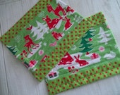 Christmas Snack Mat Set of 2 Kitschy Deer Yule Critters