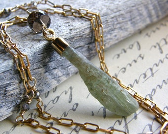 Extra Long Green Kyanite Necklace, Gemstone Blade Pendant, Gold Layering Necklace