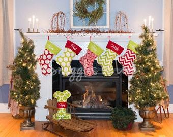 Custom Christmas Stocking Set - PERSONALIZATED - Set of 4 Stockings - Chevron Stocking, Polka Dot Stocking, Geometric Stocking
