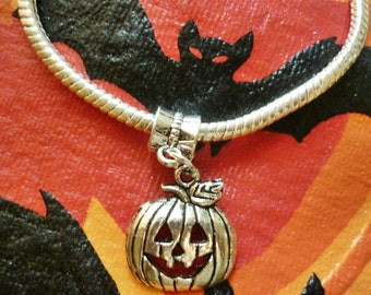 Jack O Lantern Dangle Charm, European dangle style charm