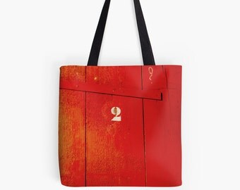 Bags and Purses. Tote Bag. Meet the Tenant 2. Vintage French Industrial. French Numbers. Original Design. Vintage Tomato Red. Bright & Fun.