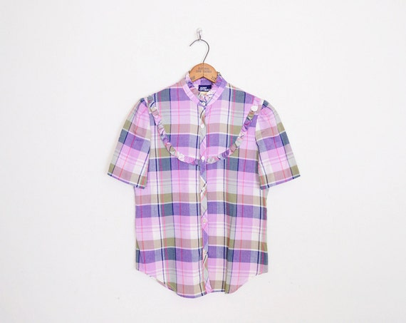 Purple Plaid Shirt Plaid Blouse Top Plaid Western By