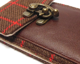 iPhone 5 / 6 / 6 Plus wallet - brown and red vintage wool tweed
