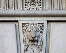 Lion Photography, Restaurant Decor, Philadelphia Art, Architectural Home Decor, Leo Zodiac Print, Architecture Photography, City Photo,