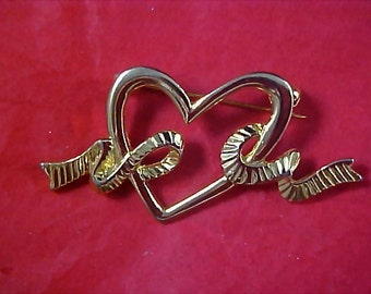 Valentine Heart & Ribbons Open Design Brooch/Pin