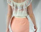 Peach crepe 1960s wiggle skirt- small