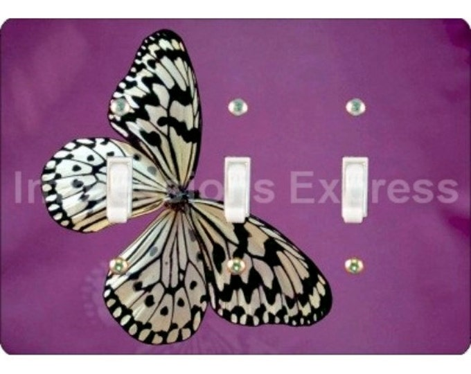White Butterfly Triple Toggle Light Switch Plate Cover