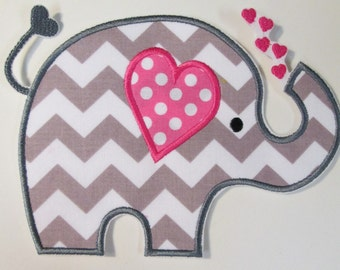 Iron On Applique - Sweet Girly Elephant with Hearts or Monogram - Ships in 1-3 Business Days
