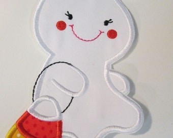 Halloween Iron On Applique - Girl Ghost with Candy Corn Treat Bag