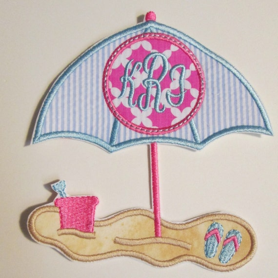 Iron On Applique - Beach Umbrella Monogram