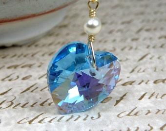 Teal Heart Necklace, Aquamarine Crystal, Swarovski Heart Pendant, Gold Filled, Wedding Jewelry, March Birthstone Birthday Gift