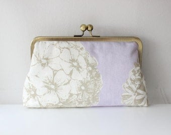 SALE | Lilac Clutch | Floral Clutch | Bridesmaid Clutch | Bridesmaid Gift [Sunset Promenade in Lilac]