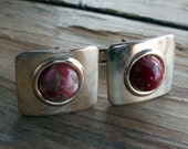 Rectangular Silver Tone Cuff Links with Red Stones Mid Century Modern