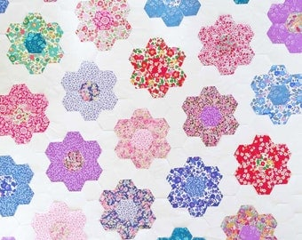 "Liberty Fabric Hexagons 1 1/4"" Sides Granny Flowers"