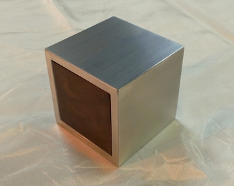Cubed Metal and Wood Custom Engagement Ring Box