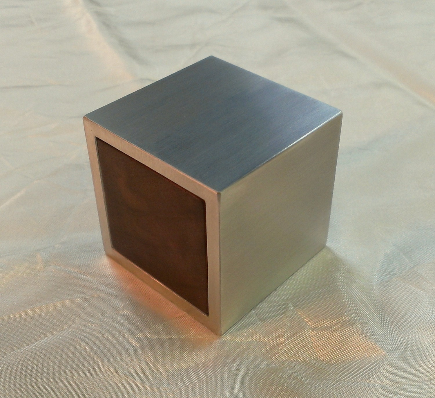 Cubed metal and wood custom engagement ring box for Custom engagement ring box