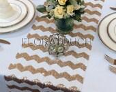 Gold and White Chevron Sequin Table Runner Wedding Table Runner