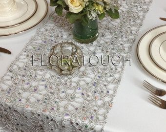 Silver Alice Metallic Lace Sequin Wedding Table Runner, Table Decor, Dining Table Runner, Bridal Shower