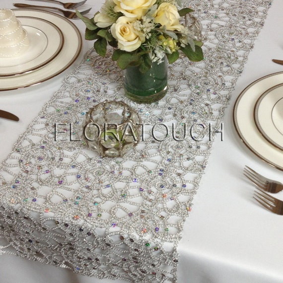 silver alice metallic lace wedding table runner gold also available