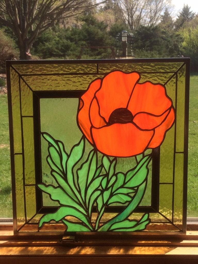 Art Nouveau Inspired California Poppy By Mason Larose: Poppy Stained Glass Panel Remembrance Art By TreasuresOfLight