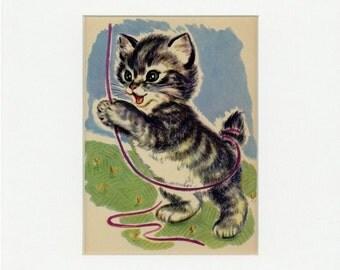 Adorable Vintage Playing Kitten Print