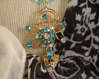 Aqua Beaded Necklace with Vintage Aqua and White RS Dangle Pin - Golden