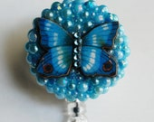 Indigo Blue Butterfly ID Badge Reel - RN ID Badge Holder - Zipperedheart