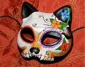 Day of the Dead Mask Dia de Los Muertos Kitty Cat Made Upon Order