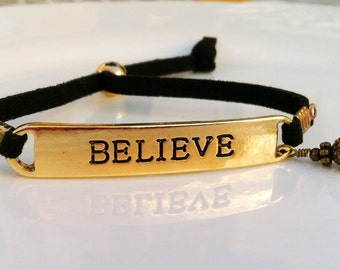 """New Swarovski Crystal Birthstone Charm """"Believe"""" Vintage Bead Cap Antique Jewelry Bracelet on Soft Leather Cord-Inspirational Collection"""