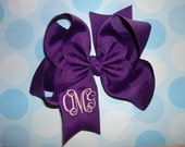 6 Large Boutique Hair Bows You Pick Colors 3 Letter Monogrammed