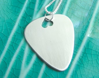 Guitar Pick Necklace Sterling Silver Handmade Heart